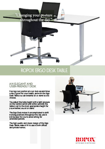 Data leaflet Ropox Ergo Desk Table