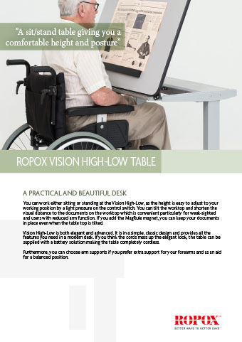 Data leaflet Ropox Vision High-Low Table
