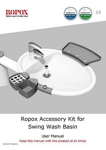 Ropox user & mounting manual - Swing Washbasin accessory kit