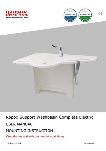 Ropox user & mounting manual - Support Washbasin Complete Electric