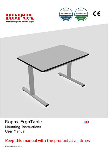 Ropox user & mounting manual - ErgoTable