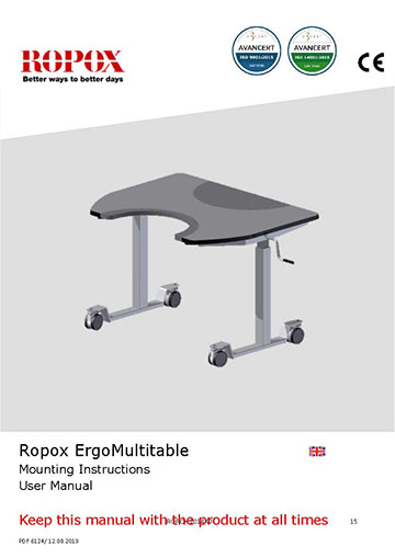 Ropox user & mounting manual - ErgoMultiTable