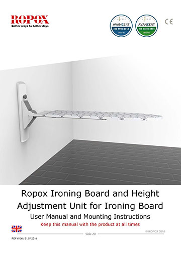 Ropox user & mounting manual - Ironing board
