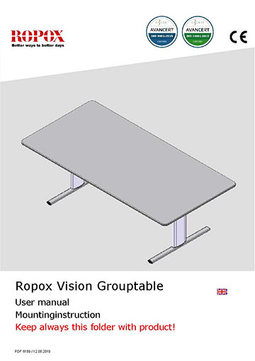 Ropox user & mounting manual - Vision Group Table