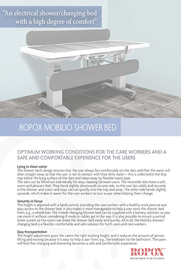 Data leaflet Ropox Mobilio Shower Bed