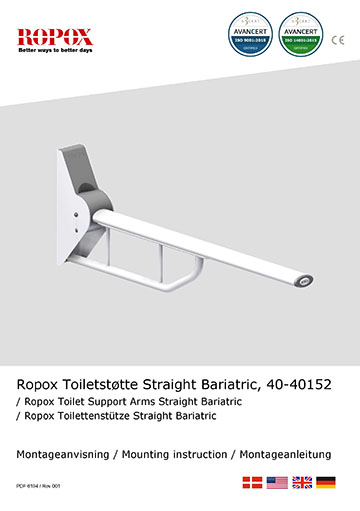 Ropox Installation manual for toilet support arms, straight