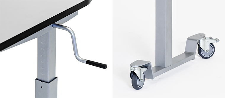 ErgoMulti Table with handle castors
